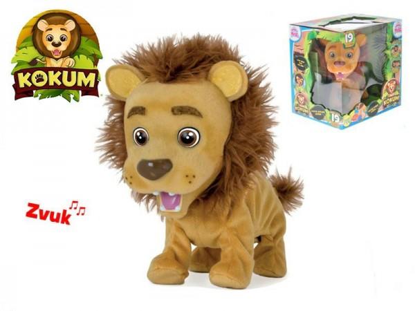 Kokum lvíček plyšový 26cm na baterie reagující na české povely v krabičce