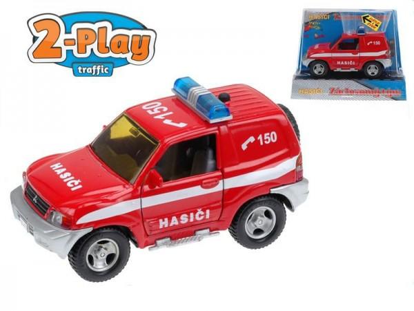 Auto Mitshubishi hasiči kov 12cm na zpětné natažení na baterie 2xLR41 se zvukem se světlem v krabici
