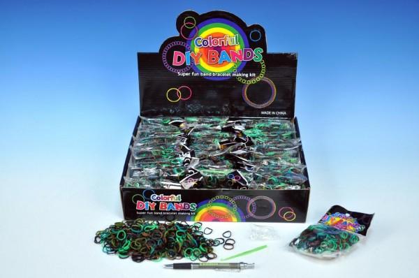 Udělej si svůj náramek - gumičky 450ks + doplňky mix  barev v sáčku 30ks v boxu