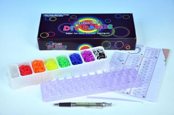 Udělej si svůj náramek - gumičky 600ks + náčiní + pletací stav v krabičce