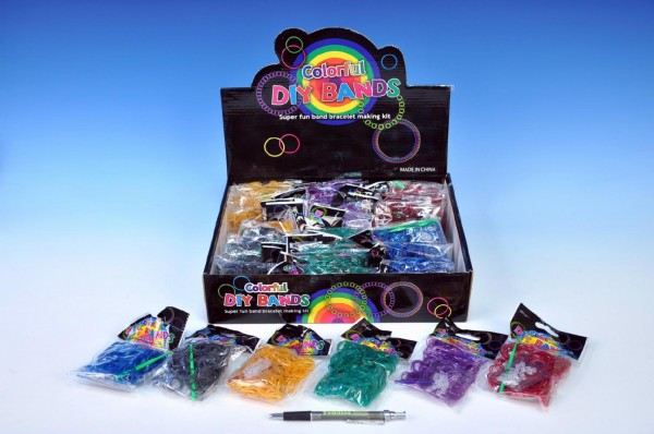 Udělej si svůj náramek - gumičky 300ks s doplňky asst 6 barev v sáčku 36ks vboxu