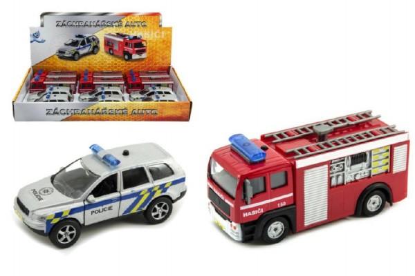 Záchranářské auto policie/hasiči kov 11cm na zpětný chod na baterie se světlem a zvukem 12ks v boxu