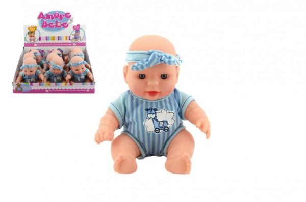 Miminko pevné tělo modré 19cm sedící s čelenkou  9ks v boxu