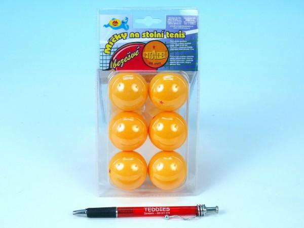Míčky na stolní tenis bezešvé oranžové 40mm 6ks na kartě