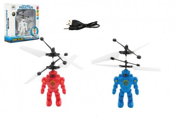 Vrtulník/Robot 15cm plast reagující na pohyb ruky s USB nab. kabelem se světlem v krabičce 17x18x6cm