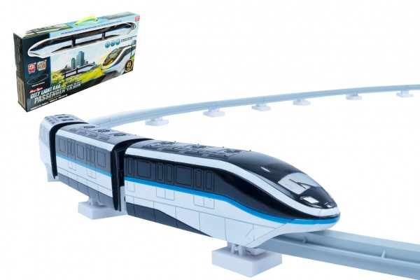 Vlak s kolejemi plast 45ks na baterie se světlem se zvukem v krabici 54x27x7cm