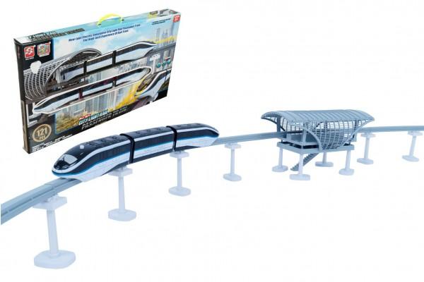 Vlak/metro s kolejemi plast 121ks na baterie se světlem se zvukem v krabici 66x39x7cm