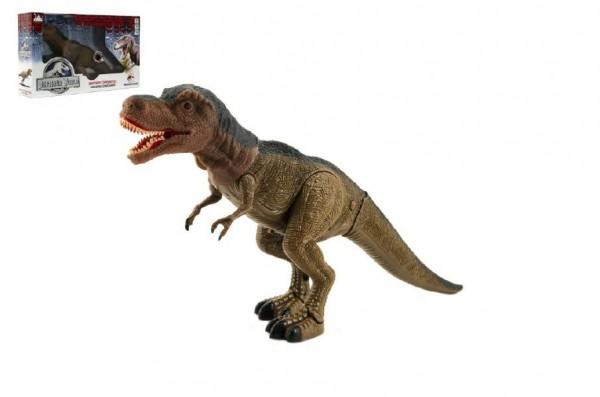 Dinosaurus tyranosaurus chodící plast 40cm na baterie se světlem se zvukem v krabici