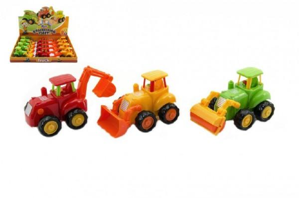 Traktor/Stavební stroj plast 13cm asst 3 druhy na setrvačník 12ks v boxu 36m+