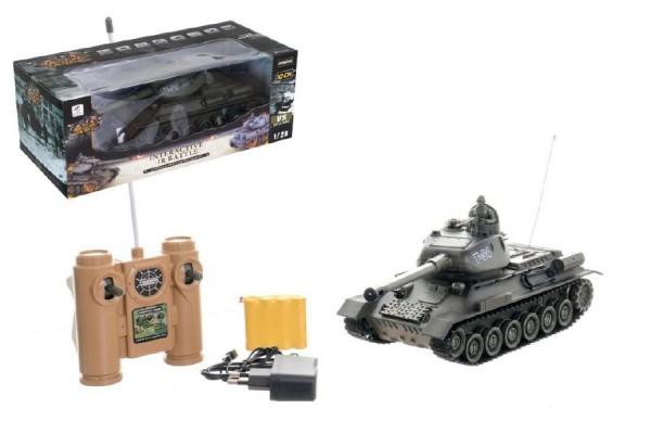 Tank RC plast 33cm T-34/85 na baterie+dobíjecí pack 27MHz se zvukem a světlem v krabici 40x15x19cm