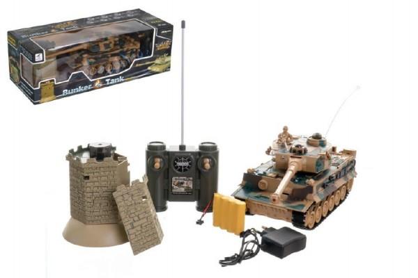 Tank RC TIGER I plast 33cm+bunkr na baterie+dobíjecí pack se zvukem a světlem v krabici 51x17x19cm