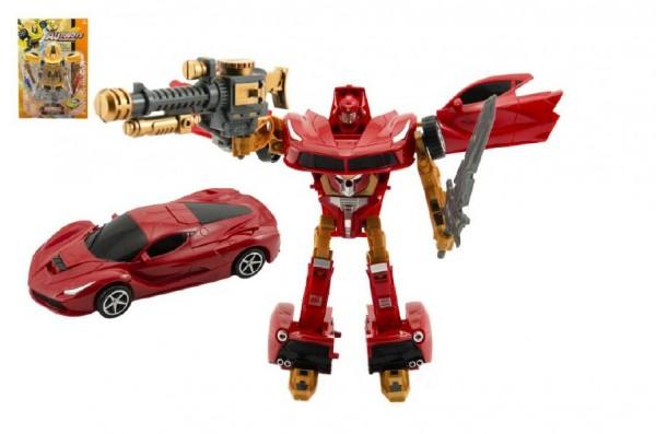 Transformer auto/robot plast 24cm asst 2 barvy na kartě