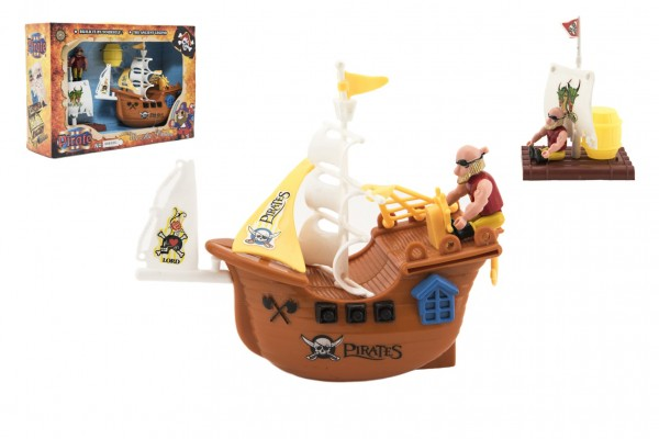 Pirátská loď + doplňky plast v krabici 28x19cm