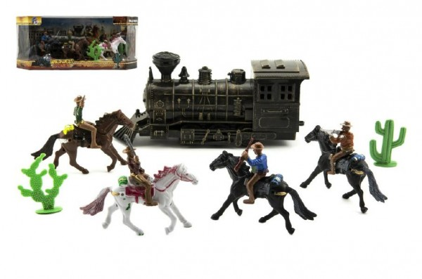 Sada kovbojové s lokomotivou plast 7ks v krabici 34x15x16cm