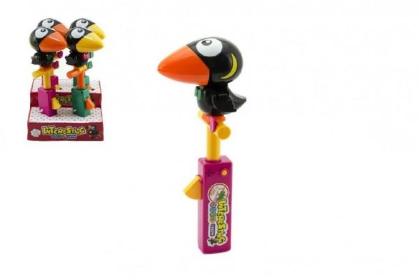 Pták/papoušek zvířátko opakovací plast 28cm mix barev na baterie se zvukem 4ks v boxu