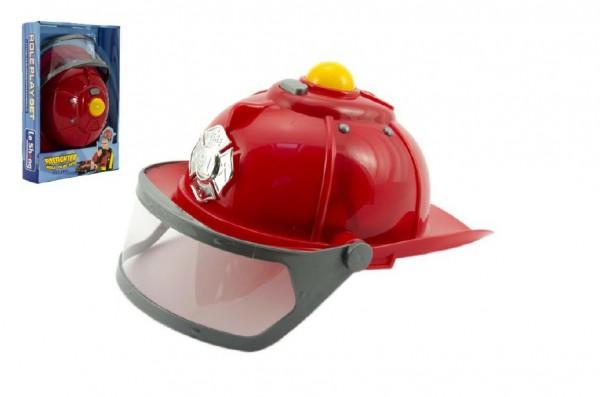 Helma přilba hasič plast 28cm na baterie se světlem se zvukem v krabici 22x33x6cm