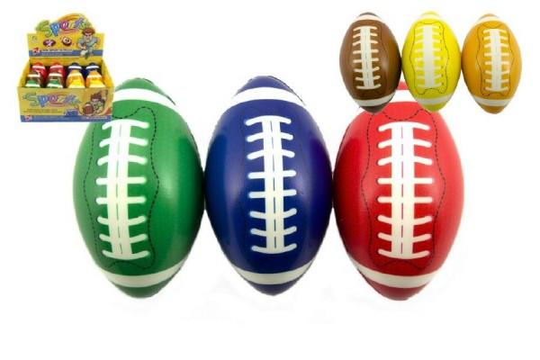 Míček na rugby pěna 13cm asst 6 barev 12ks v boxu