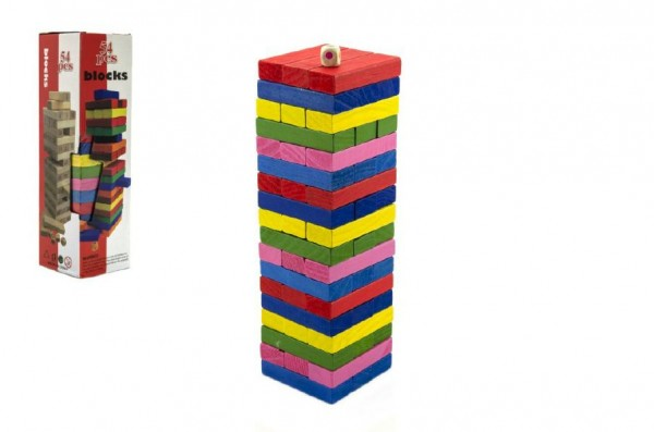 Hra Jenga věž dřevo 54ks barevných dílků hlavolam v krabičce 8x29cm