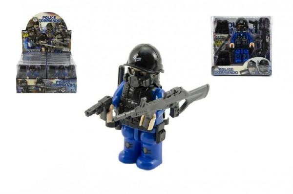 """Figurka voják """"policejní komando""""s doplňky plast 9cm asst mix druhů v krabičce 12x12x4cm 12ks v boxu"""
