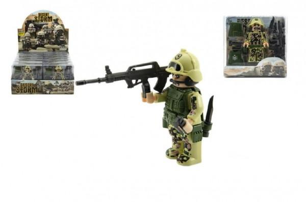 """Figurka """"voják v poušti"""" s doplňky plast 9cm asst mix druhů v krabičce 12x12x4cm 12ks v boxu"""