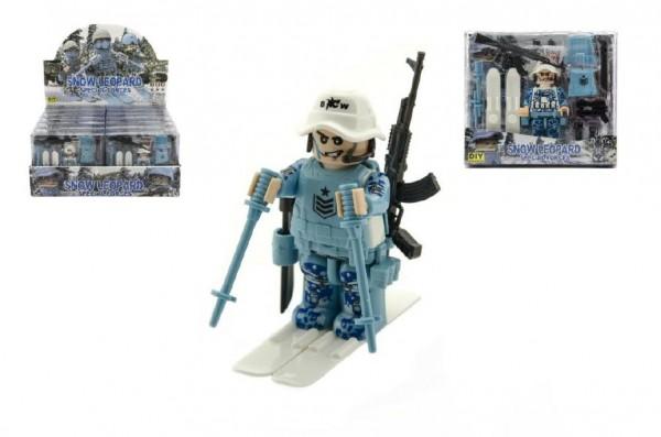 """Figurka voják """"sněžný leopard"""" s doplňky plast 10cm asst mix druhů v krabičce 15x14x4cm 12ks v boxu"""