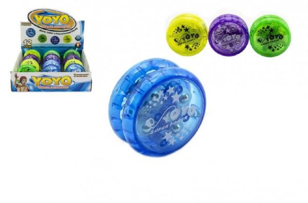Jojo plast 6cm svítící asst 4 barvy 12ks v boxu
