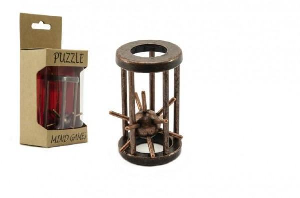 Hlavolam ježek v kleci kovový hnědý 4,5x7,5cm v krabičce