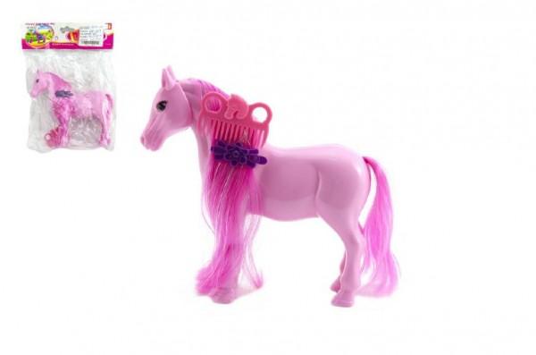 Kůň česací s hřebenem plast 16cm asst 2 barvy v sáčku