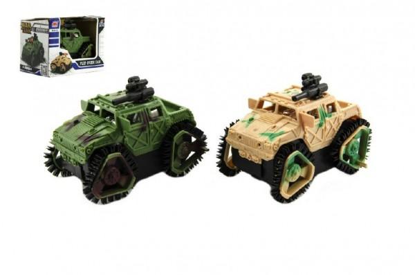 Auto vojenské převracecí plast 8cm na baterie asst 2 barvy v krabičce 11x8,5x8cm
