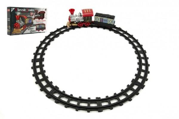 Vlak/Lokomotiva s vagónkem a dráhou 10ks plast na baterie v krabici 37x23x7cm