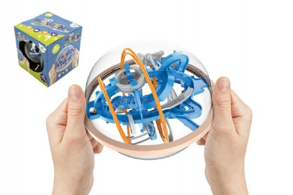 Hlavolam edukační koule 80 kroků plast 18cm v krabici 19x20x19cm CZ design