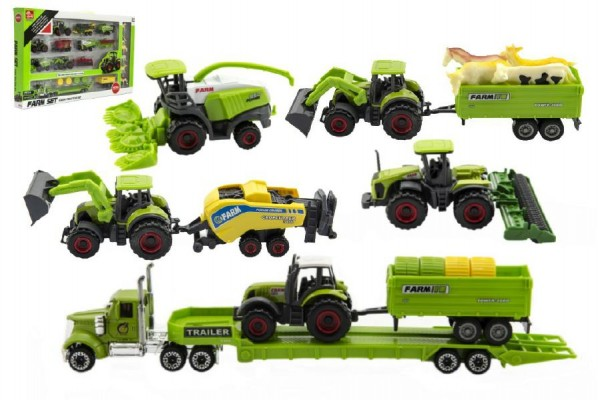 Zemědělské stroje se zvířátky sada farma 22ks plast/kov asst 2 druhy v krabici 53x31x5cm