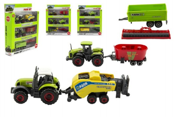 Sada farma zemědělské stroje 6ks plast/kov asst 4 druhy v krabici 21x27x5,5cm