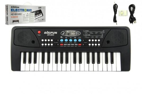 Piánko/Klávesy 37 kláves, napájení na USB + připojení MP3 plast 40cm v krabici
