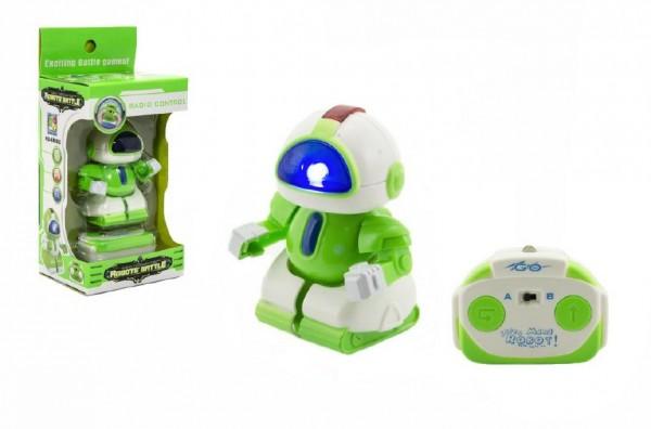 Robot bojovník RC plast 8cm na vysílačku na baterie se světlem v krabičce 9x18x7cm