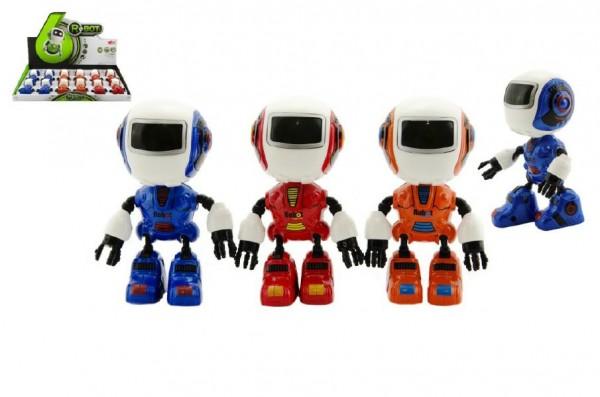 Robot hýbající se kov/plast 11cm na baterie se světlem a zvukem asst 3 barvy 12ks v boxu