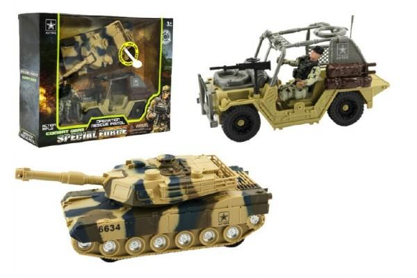 Vojenská sada plast voják+auto+ tank na baterie se světlem se zvukem v krabici 32x26x10cm