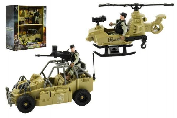 Vojenská sada voják+vrtulník+auto plast v krabici 24x26x10cm
