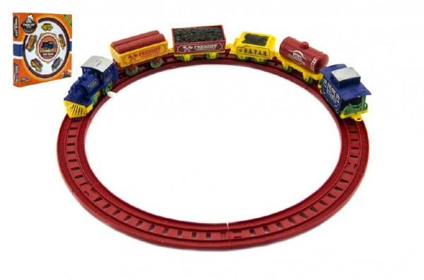 Vlak na klíček + koleje a vagónky plast v krabici 29x29x4cm