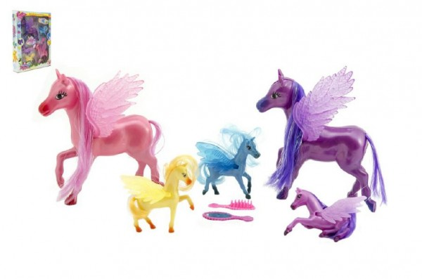 Sada koně s křídly česací s doplňky plast v krabici 28x37x6cm