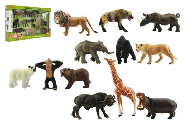 Zvířátka safari ZOO 12ks plast v krabici 53x30x6cm