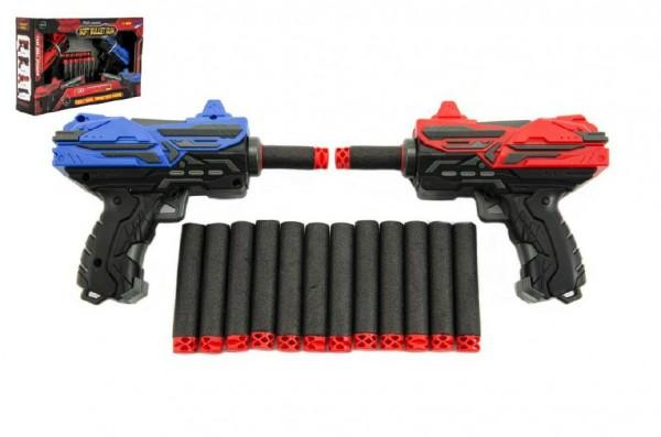 Pistole na pěnové náboje + náboje 2ks v krabici 30x19x7cm