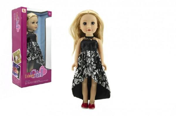 Panenka plast stojící blond rovné vlasy, černé šaty 46cm v krabici 24x49x13cm