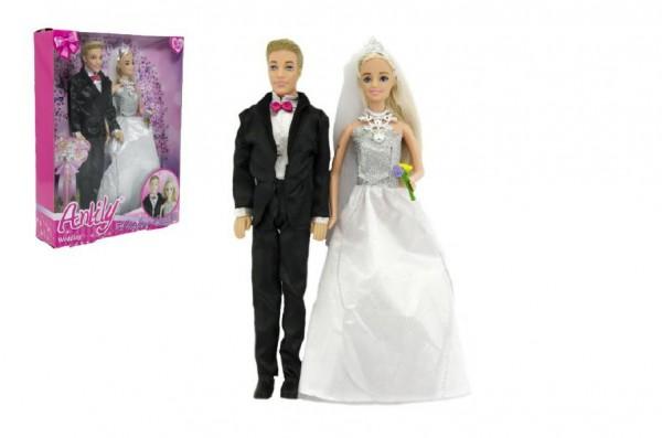 Panenka Anlily kloubová 2ks nevěsta a ženich plast 30cm v krabici 25x33x7cm