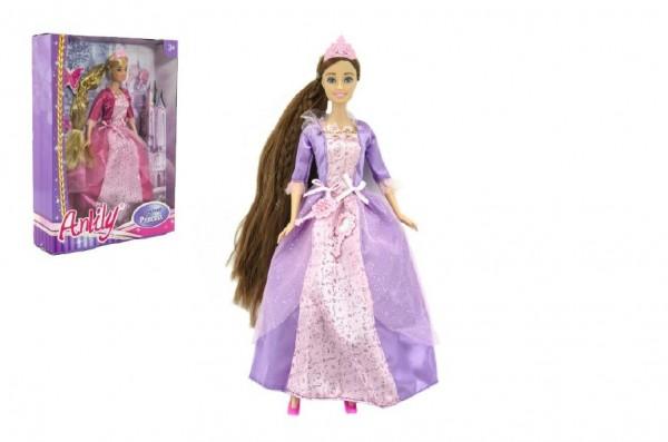 Panenka princezna Anlily s dlouhým copem plast 28cm asst 2 barvy v krabici 23x32x7cm