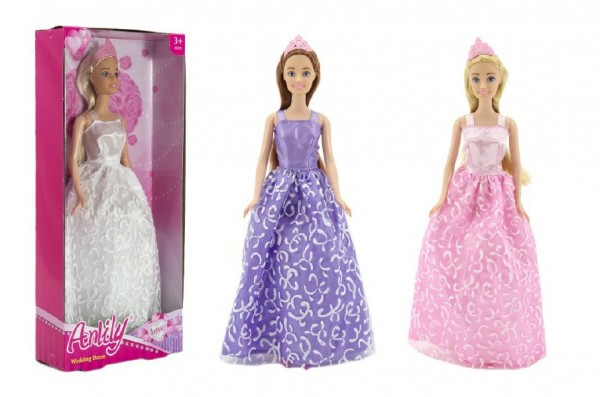 Panenka nevěsta Anlily v šatech kloubová plast 28cm asst 3 barvy v krabici 14x32x5cm