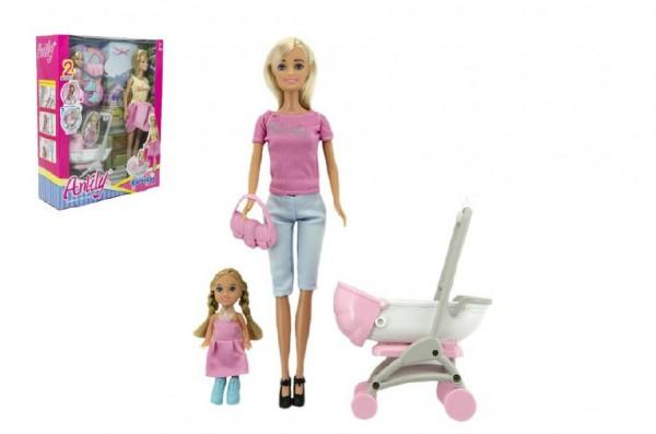 Sada panenka Anlily kloubová s holčičkou a kočárkem + doplňky plast v krabici 27x34x9cm