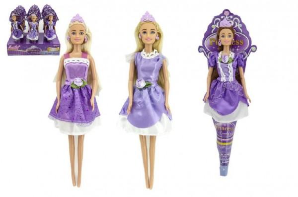 Panenka princezna plast 28cm kloubová v kornoutu 12ks v boxu