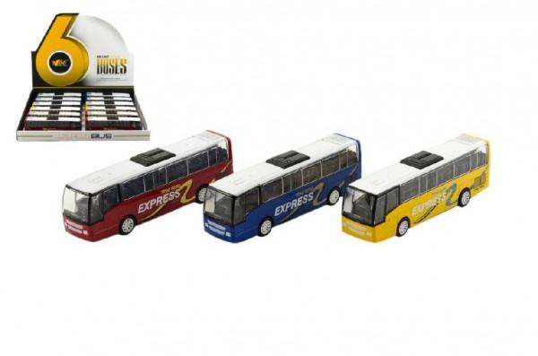 Autobus kov 16cm asst 3 barvy na zpětné natažení 12ks v boxu