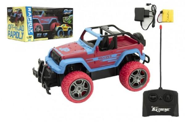 Auto RC terénní plast 20cm na baterie + dobíjecí pack v krabici 31x16x16cm